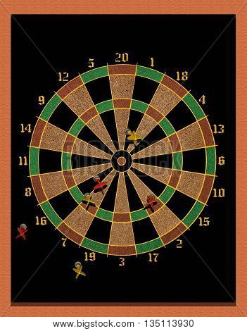 Magnetic dart board with a few darts scattered
