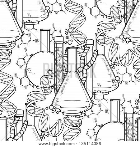 Genetic research pattern. Graphic test tube, DNA sequences and chemical formulas. Vector medical seamless pattern. Coloring book page design for adults and kids