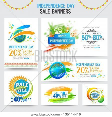 Independence Day Sale Banner set, Sale Header with Extra Discount Offer, Creative vector illustration in National Flag colour, Concept for Independence Day celebration.