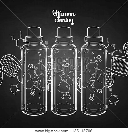 Graphic vector fetus in the glass bottle and abstract dna background. Artificial insemination or IVF topic. Vector science illustration