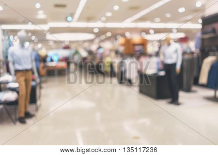 abstract blurred background of Department store in Shopping Mall Vintage tone