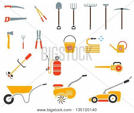 Set of garden tool. Garden tool icon. Gardening equipment. Agriculture tools. Vector illustration.