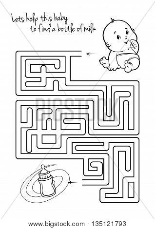 Maze game for kids with infant and milk. Let's help this baby to find his way to the bottle of milk. Vector template page with game in black and white style.