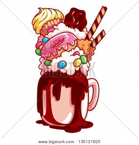 Giant Milkshake With Muffin, Donut, Chocolate And Candies.