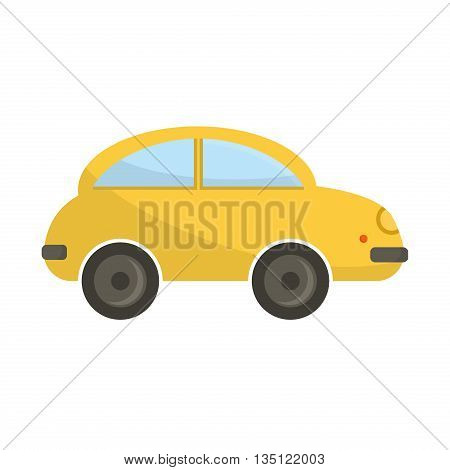Yellow funny cartoon car vector illustration. Cartoon car vehicle transportation isolated. Travel wheel design funny cartoon toy car. Road drive icon traffic sport car.
