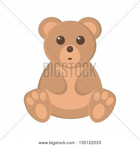 Cute baby bear cartoon vector illustration. Brown bear cartoon toy character vector illustration and wild bear nature zoo mammal bear. Cartoon bear kid toy. Wildlife bear animal.