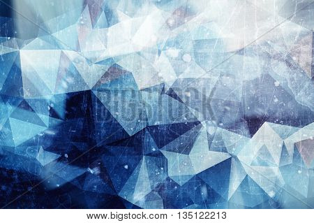 Iced abstract background - winter ice illustration with red and blue colors