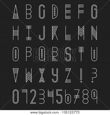 Original ethnic latin alphabet set. Linear uppercase modern font, typeface, english alphabet. Tribal white upper case and question and exclamation marks on black. Modern thin line style