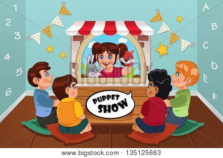 A vector illustration of happy kids watching puppet show