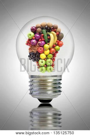 Fruit and vegetable ingredients inside a light bulb in the shape of a human head