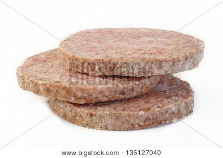 frozen burger food at on white background