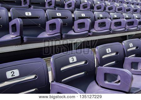 Purple Stadium Seats Close Up in sports arena
