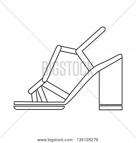 High heel sandals with ankle strap icon in outline style on a white background