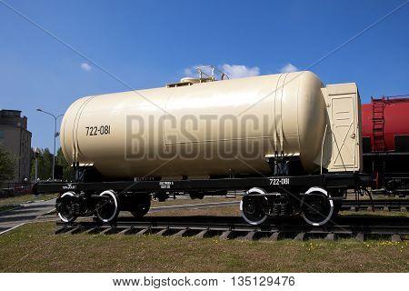 NIZHNIY TAGIL, RUSSIA - JUNE 1, 2016: Photo of Railway tank car model 15-8G513.
