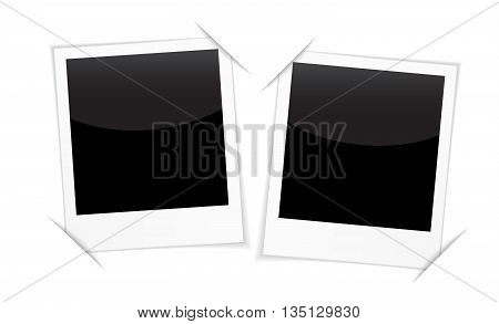 Retro 2 photo frames isolated on white. Blank photo frames for inserting on black space any image you like. Vector illustration