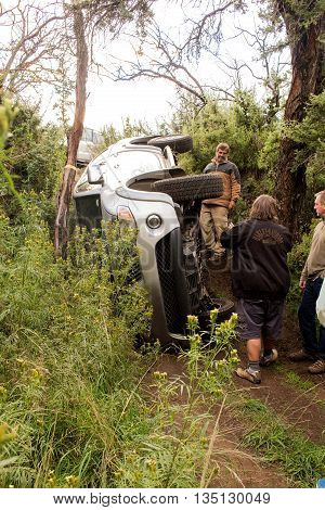 Golden Gate Highlands National Park, South Africa - April 30, 2016. The car Mitsubishi Triton rolled over while doing off-road trail. Vehicle recovery.
