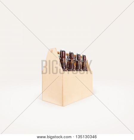 Beer wooden box side mock up isolated. Blank wood cold beer packaging mockup stand. Beer bottles with lightning stopper in wooden crate. Group beer pack. Alcohol package display view.