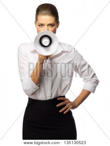 Young businesswoman with megaphone isolated
