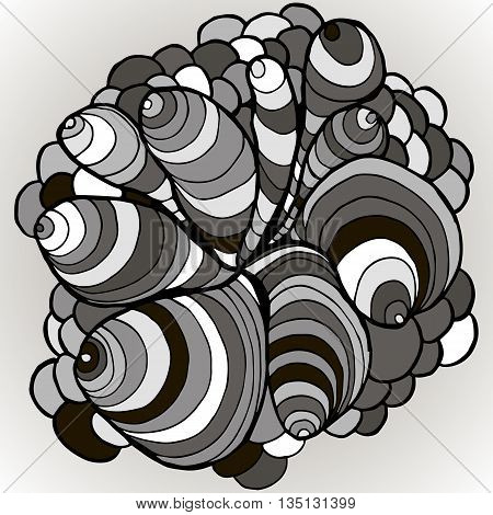 Vector Color Abstract Hand-drawn Waves Pattern With Waves And Clouds. Asian Style Element For Design
