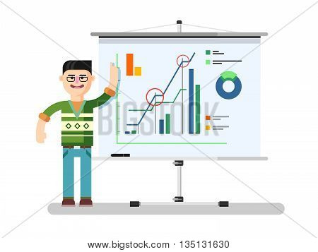 Financial analyst shows report. Diagram finance, report business, growth chart, market statistic, flat vector illustration