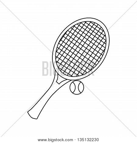 Tennis racket with a tennis ball icon in outline style on a white background