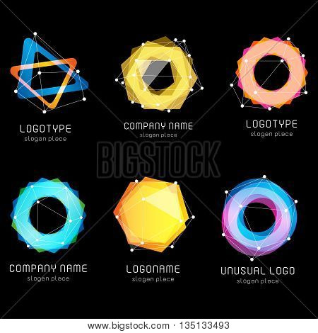 Unusual abstract geometric shapes vector logo set. Circular, polygonal colorful logotypes collection on the black background. Vector illustration