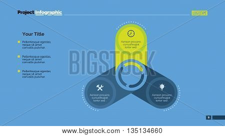 Editable template of presentation slide representing creative circle diagram with three steps, multicolored version