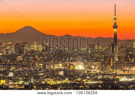 TOKYO, JAPAN - JAN 26 :Tokyo Sky Tree (634m) at dusk on January 26, 2016.Tokyo Sky Tree is the highest free-standing structure in Japan and 2nd in the world with over 10million visitors each year.