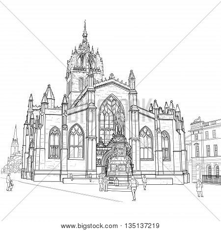 Drawing sv.Gillis Church in Edinburgh Scotland. Vector