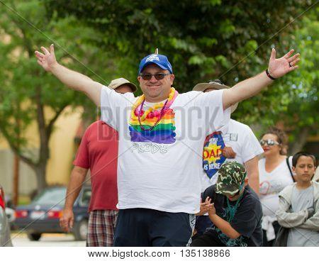 Boise, Idaho/usa - June 20, 2016: Man Celebrating During The Boise Pridefest Parade