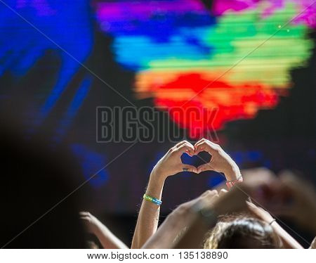 Boise, Idaho/usa - June 20, 2016: Hands Making The Shape Of A Heart During A Queen Sessi Song At Boi