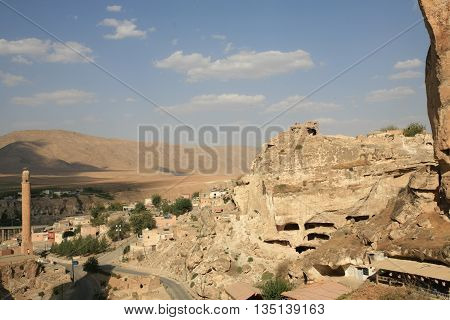 Hasankeyf village (Southeastern Anatolia). Aerial view from the Fortress on the Tigris River with remains of the Old Bridge