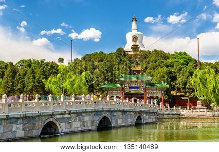 View of Jade Island with White Pagoda in Beihai Park - Beijing, China