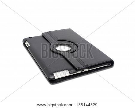 Black leather tablet computer bag on a white background