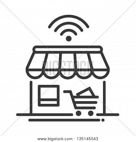 Online store single isolated modern vector line design icon with a shop, storefront, cart, with wi-fi sign