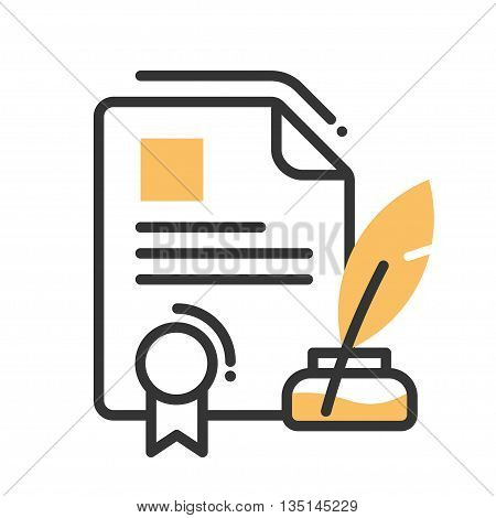 Legal document single isolated modern vector line design icon with a paper with seal, ink and quill pen