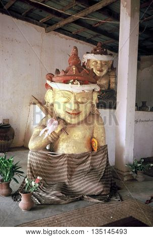 PAGAN / MYANMAR - CIRCA 1987: A Buddist sculpture inside the Shwezigon Pagoda in Pagan.
