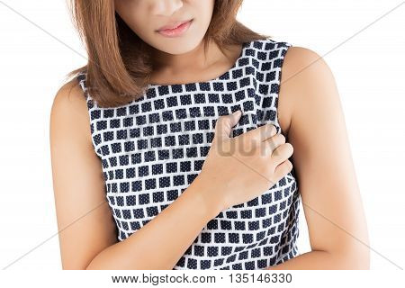 Woman is clutching her chest acute pain possible heart attack