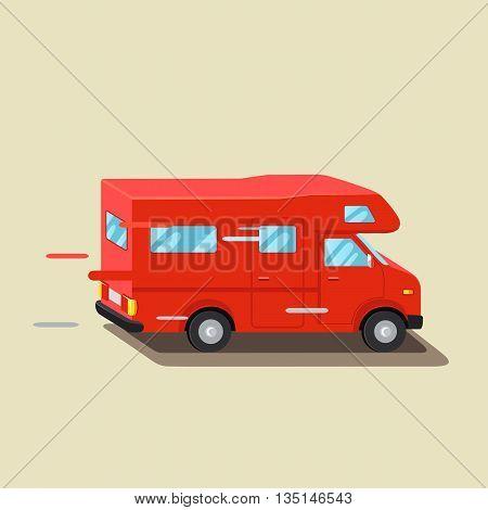 Caravan travel car vehicle trailer house. Family traveler truck summer road trip. Trailer home