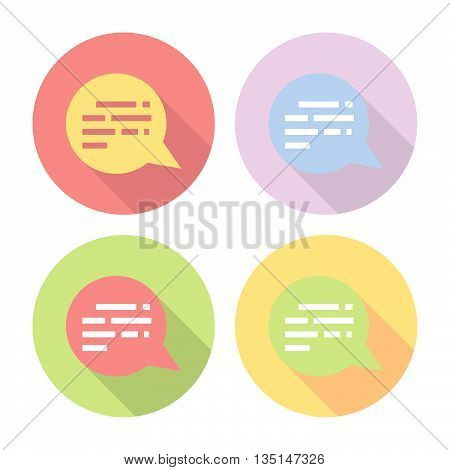 Chat Speech Bubble Flat Icons Set