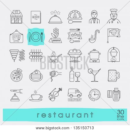 Premium quality kitchen and restaurant icons. Collection of line food and beverage icons. Vector illustration.