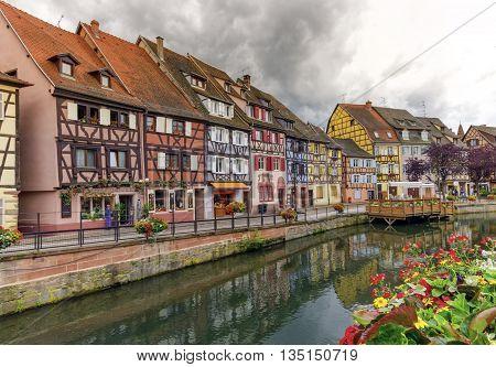 Famous traditional colorful houses in Little Venice petite Venise Colmar Alsace France