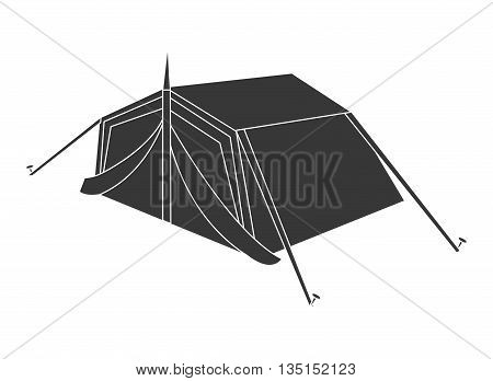 black camping tent side view over isolated background, vector illustration