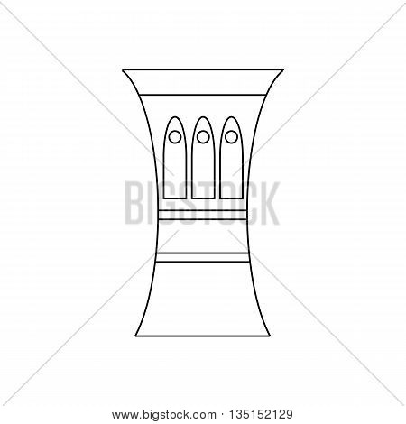 Darbuka, percussive musical instrument icon in outline style on a white background