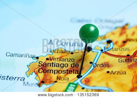 Santiago de Compostela pinned on a map of Spain