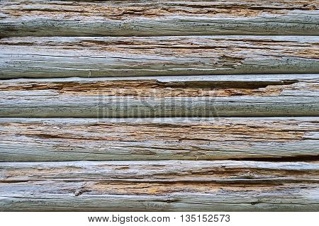 Fragment of old decomposed wooden wall background