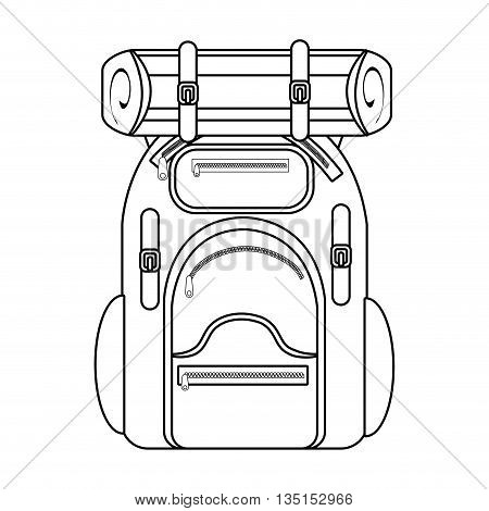 camping backpack over isolated background, vector illustration
