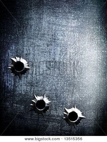 placa de metal com buraco de bala