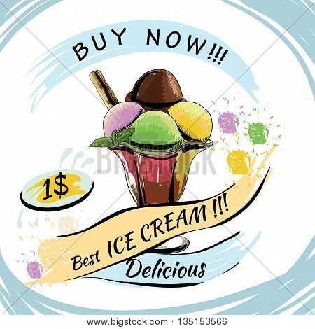 Vector illustration of Ice Cream with price. Popsicle on a white background. Popsicle colorful poster. Chocolate ice cream. Poster design, template