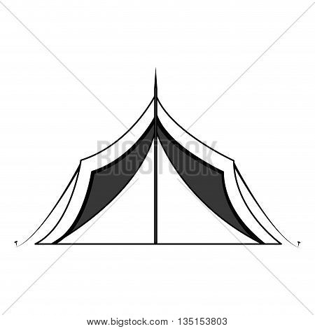 camping tent  with stripes over isolated background, vector illustration